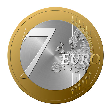 number seven: Font European coin, the number seven.