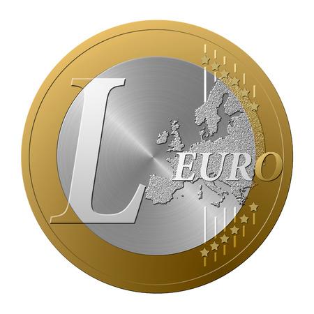 Font European coin, the letter L.
