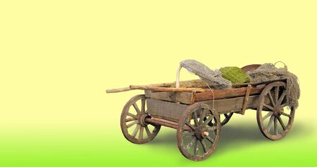 horse and cart: Rural cart for the horse on a yellow background. Stock Photo
