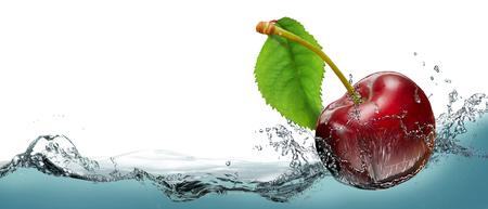 Juicy Cherry Berry in einem Spray von kaltem Wasser.