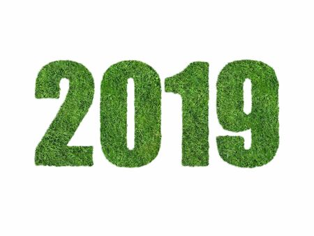 Calendar date in the form of grass for 2019 on a white background.
