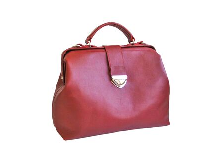 Female red retro bag on a white background.