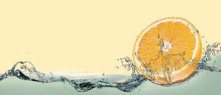 Orange soft drink with tropical orange fruit.