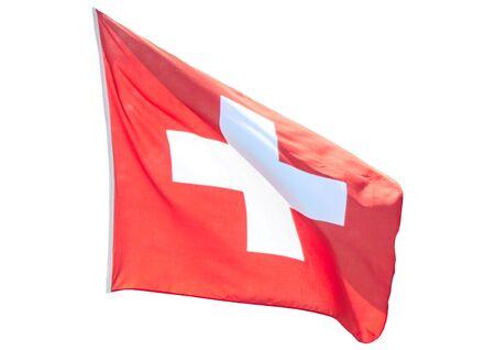 Switzerland state flag on isolated white background.
