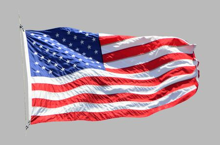 American developing flag on an isolated gray background.