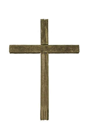 Wooden christian cross on a white background.