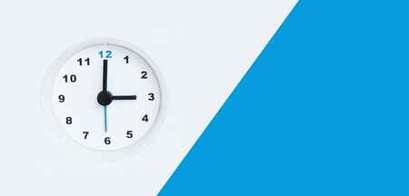 Abstraction with the face of the clock on a white and blue background.
