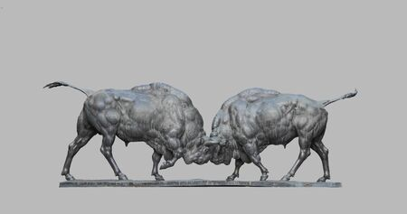 Fighting animal bison, a statue of concrete.