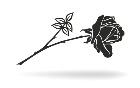 deceased: illustration of black and white rose with thorns