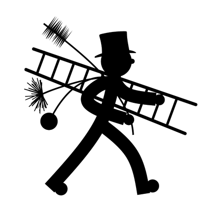 ducts: stylized illustration of chimney sweeper at work