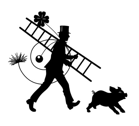 illustration of chimney sweeper followed by a pig illustration