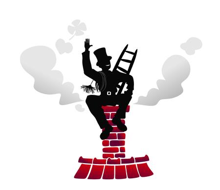 職場での煙突の掃除人の様式化された図 写真素材