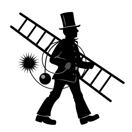 sweeper: stylized illustration of chimney sweeper at work