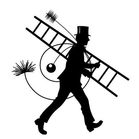 stylized illustration of chimney sweeper at work illustration
