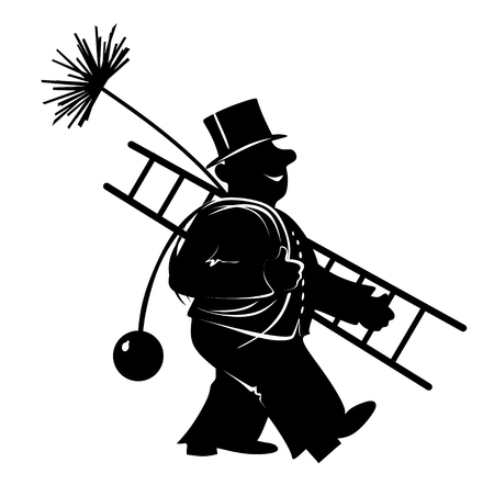 仕事で煙突の掃除人の様式化された図 写真素材
