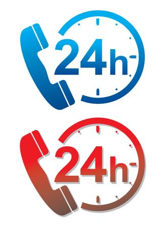 available time: illustration of a 24 hour service hotline Stock Photo