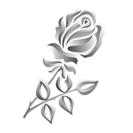illustration of black and white rose with thorns