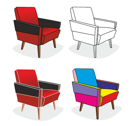 arm chairs: illustration of four different old arm chairs