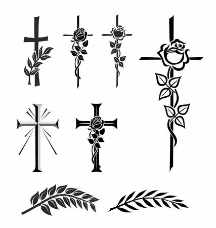 Illustration de différentes croix avec rose ou laurier Banque d'images - 22965905