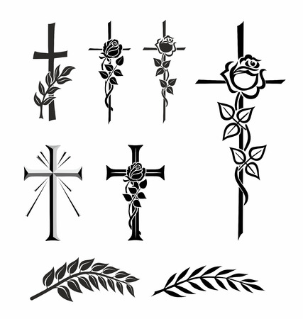 luto: ilustración de diferentes cruces con rosa o laurel