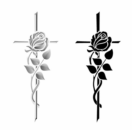 condolence: illustration of two different crosses with roses