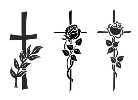 illustration of three different crosses with roses illustration