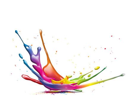 다채로운 잉크 얼룩의 추상 그림 스톡 콘텐츠