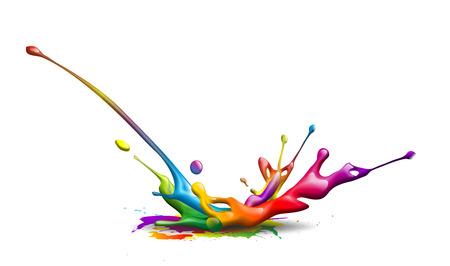 impresora: resumen de la ilustración de una tinta salpicaduras de colores