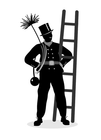 smut: stylized illustration of a proud chimney sweeper at work