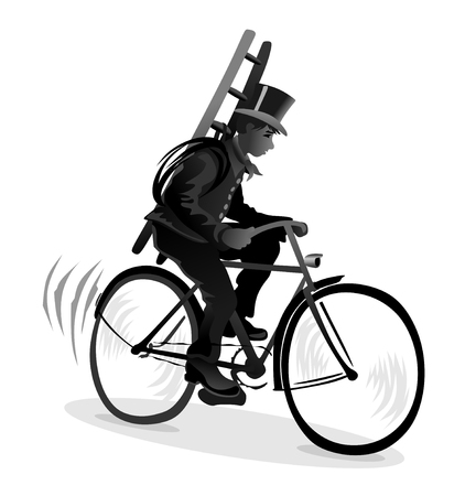smut: stylized illustration of chimney sweeper on a bicycle
