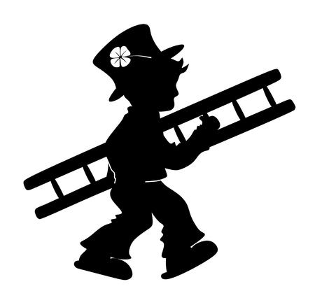 stylized illustration of chimney sweeper with cloverleaf Stock Illustration - 23179909