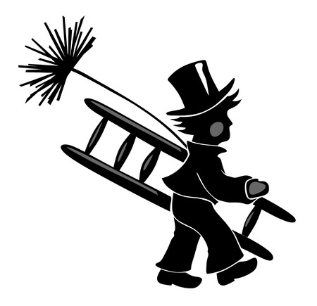 smut: stylized illustration of chimney sweeper with ladder Stock Photo
