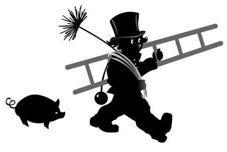 smut: stylized illustration of chimney sweeper followed by a pig