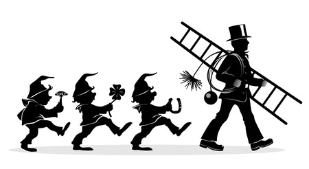 brownie: stylized illustration of chimney sweeper and little dwarfs at work
