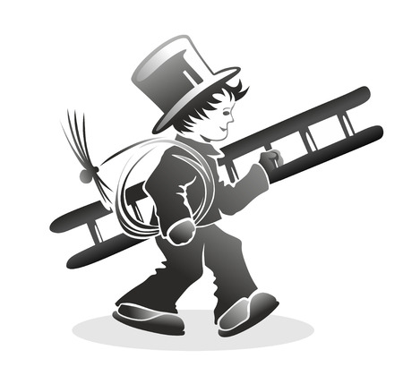 smut: stylized illustration of chimney sweeper carrying a ladder