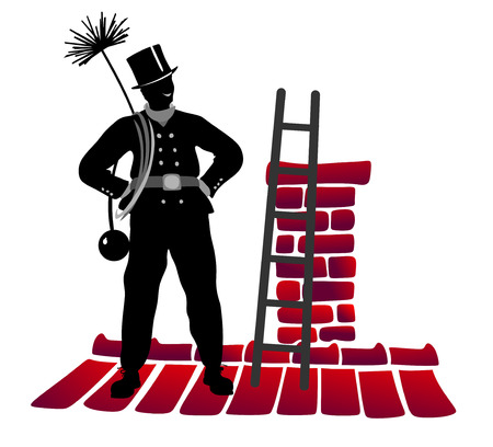 smut: stylized illustration of chimney sweeper on the rooftop