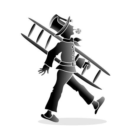 cloverleaf: illustration of chimney sweeper with cloverleaf Stock Photo