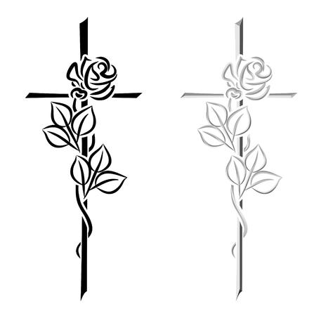zwei Abbildungen von verschiedenen Kreuze mit Rosen