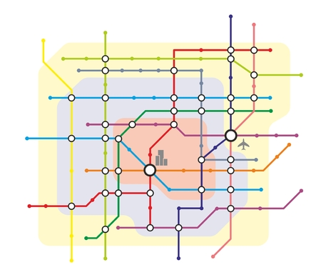 public transfer: stylized illustration of a metro system map