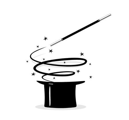 magician hat: illustration of a cylinder and a magic wand