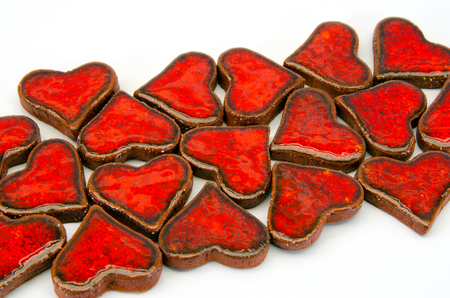 illustration of hearts made of gingerbread with glazing Stock Illustration - 23158066