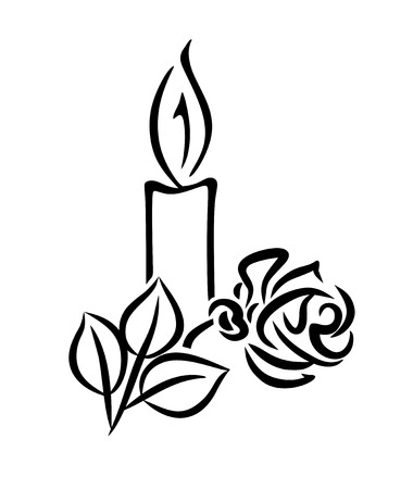 black and white illustration of a candle with rose Stock Illustration - 23218870