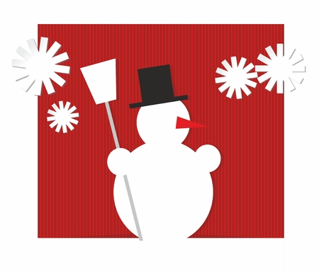 x mass: stylized illustration of a snowman and snowflakes
