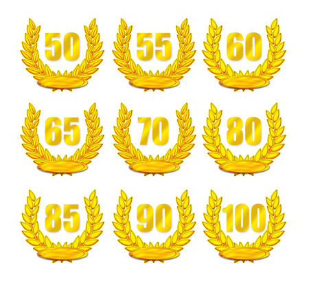 age 50 55 years: illustration of golden laurel wreath for anniversary with different numbers