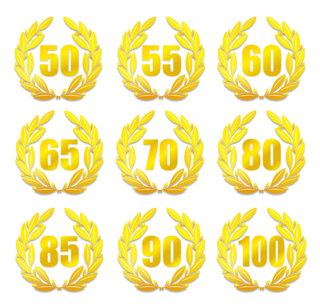 age 50 55 years: illustration of a laurel wreath for anniversary with different numbers Stock Photo