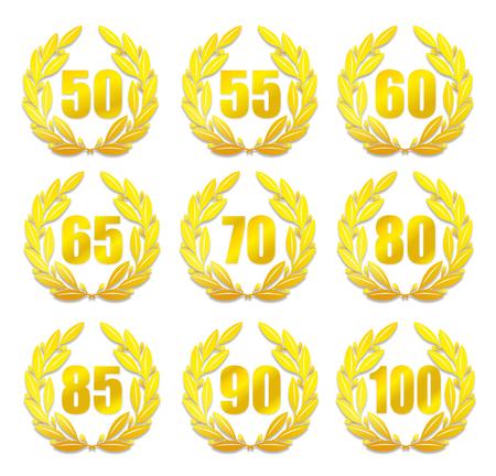 laureles: ilustraci�n de una corona de laurel para el aniversario con diferentes n�meros Foto de archivo