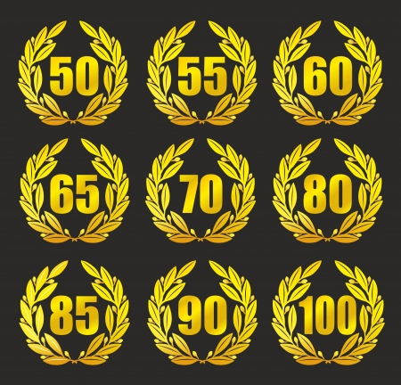 80 85: illustration of a laurel wreath for anniversary with black background Stock Photo