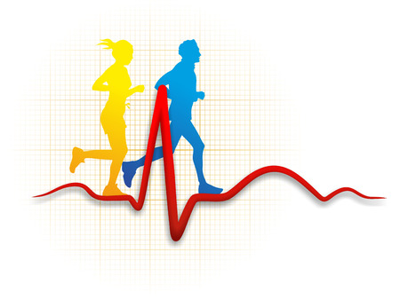 heart attack: illustration of two runners and a cardioid Stock Photo