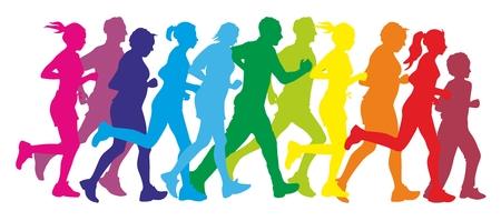 fitness and health: illustrazione che mostra la silhouette di alcuni corridori