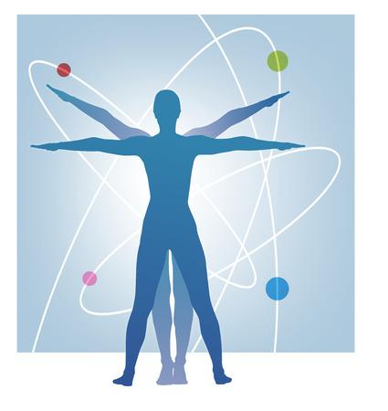 aura energy: illustrazione che mostra le proporzioni leonardo con sfere